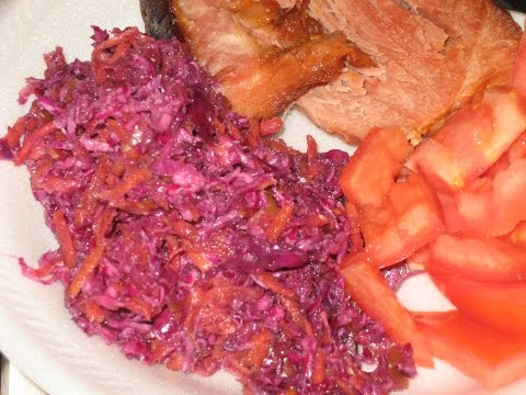 easy PURPLE CABBAGE & CARROT coleslaw SALAD, MILD PEPPER RINGS juice, vinegar & oil, (RED CABBAGE)