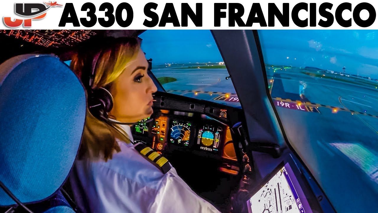 Piloting AIRBUS A330 out of San Francisco | Cockpit Views