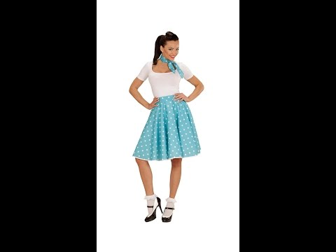 01080 - TURQUOISE 50s POLKA DOTS SKIRT & NECK SCARF