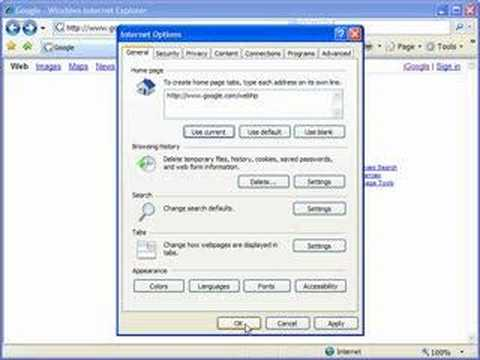 Change the default home page in IE7