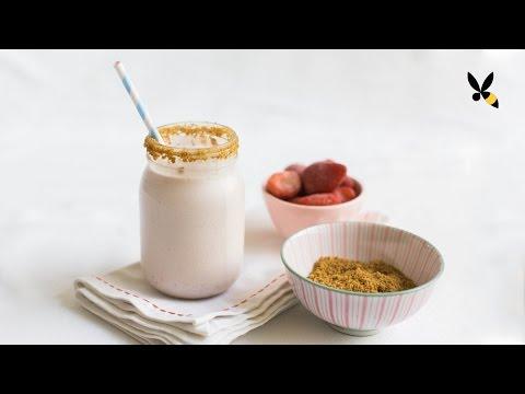 Strawberry Cheesecake Milkshake - HoneysuckleCatering - National Cheesecake Day Playlist!