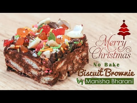 No Bake Biscuit Brownie  - Eggless Brownie Without Oven - Easy Christmas Special Recipe