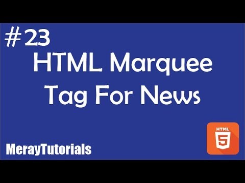 23 - HTML Marquee Tag For News Ticker