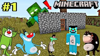 Oggy ka Minecraft me Pehla Din- Minecraft Survival Game with Oggy and Jack | Oggy Minecraft Part 1
