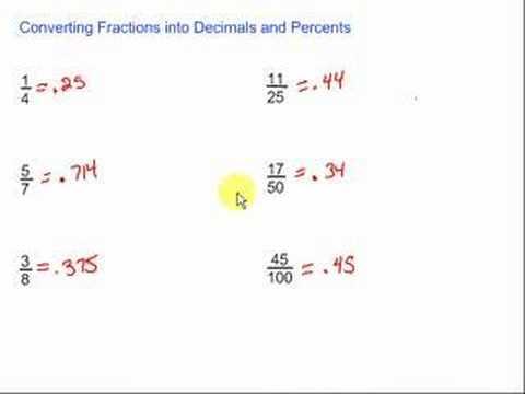 Converting Fractions into Decimals & Percents