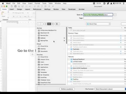 PDF in Word 2016 Mac