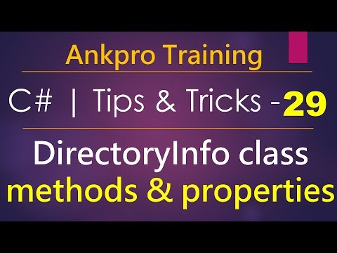 C# tips and tricks 29 - DirectoryInfo class | How to Create, Copy, Move, Rename & delete a directory