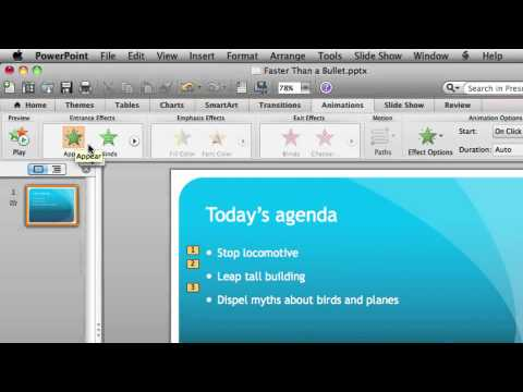 Animate a Bulleted List in PowerPoint for Mac 2011