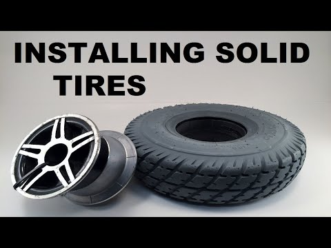 Installing mounting solid flat free tires on rim wheelchair scooter