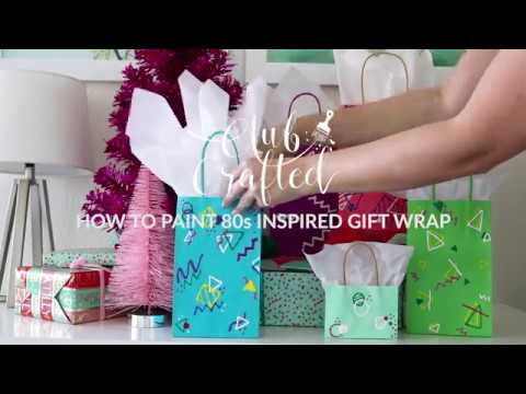 DIY! How to Paint Abstract 80s-Inspired Gift Bags for Christmas
