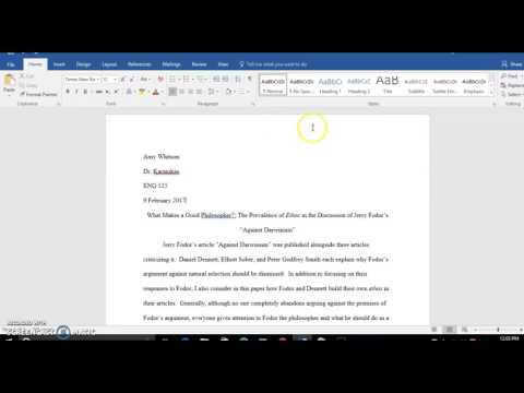 Format paper in MLA 7 using Word 2016