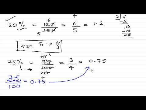Percent to fraction and decimal