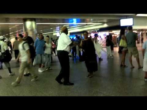 Lynn and Gil dancing Ny Penn Subway Station