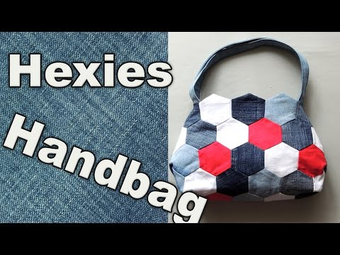 DIY mini Hexies Handbag made from Old Jeans Scraps. Recycling