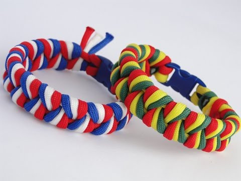 How to Make an Easy 3 Strand Braid/3 color Paracord Bracelet- Suggested Design: Rasta Colors
