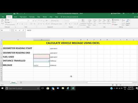 Calculate your vehicle mileage using Microsoft Excel