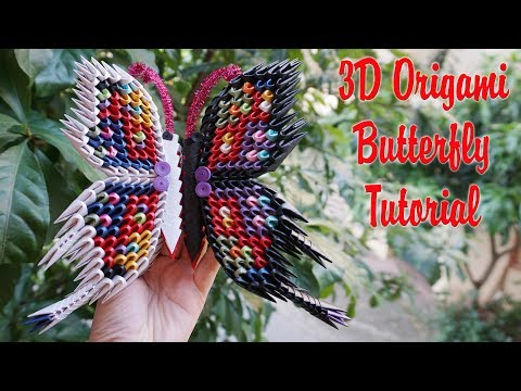 HOW TO MAKE 3D ORIGAMI BUTTERFLY V2 | DIY PAPER BUTTERFLY HANDMADE DECORATION TUTORIAL