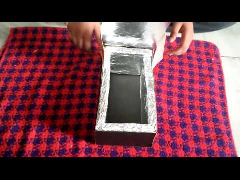 how to make a solar cooker with shoe box,work 100%