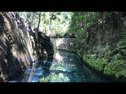 Beautiful Paradise River Jungle Raft Tour in Xcaret Mexico 4K UHD