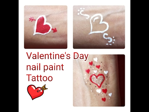 Nail Polish  tattoo for Valentine's day | Easy Temporary Tattoo designs | using old eyeliner brush