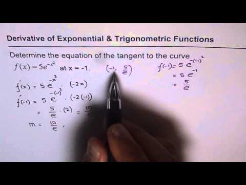 Q6 Equation of Tangent Line for f(x) = 5e^(-x^2) Exponential Function