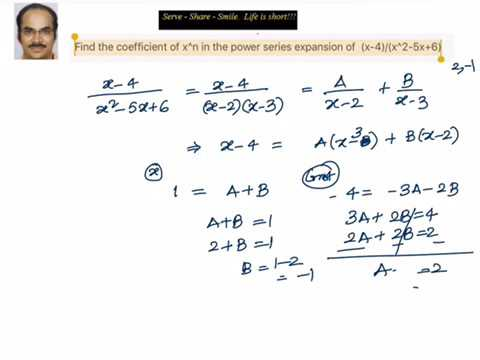 Partial Fractions: Power series expansion - Finding coefficient of x^n.