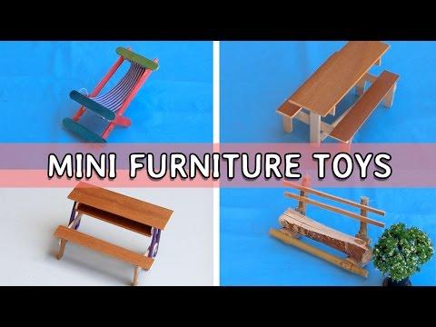4 DIY Popsicle Stick Crafts : Mini Furniture #3 for kids