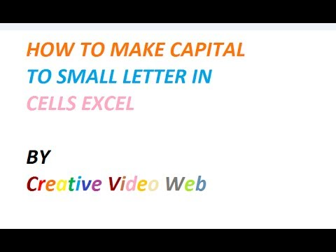 HOW TO MAKE CAPITAL LETTER TO SMALL LETTER IN MS EXCEL