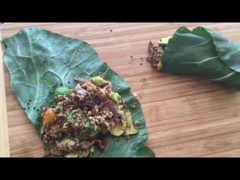 Healthy lunch video #1 (Super-yummy collard green and butternut squash wrap)