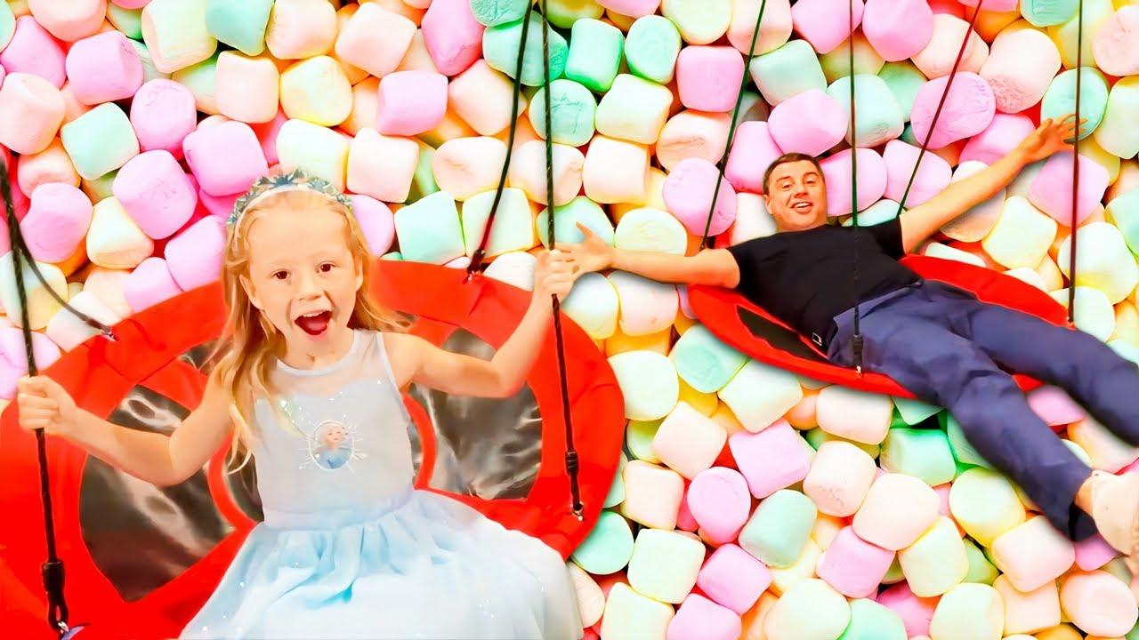 Nastya dan ayah bersenang-senang di taman, seri Fun kids