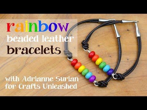 Rainbow Beaded Leather Bracelets