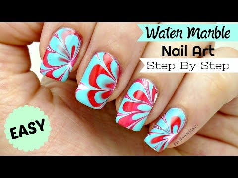 How To Do Easy Water Marble Nail Art Step By Step Tutorial In Hindi! वाटर मार्बल नेल आर्ट!