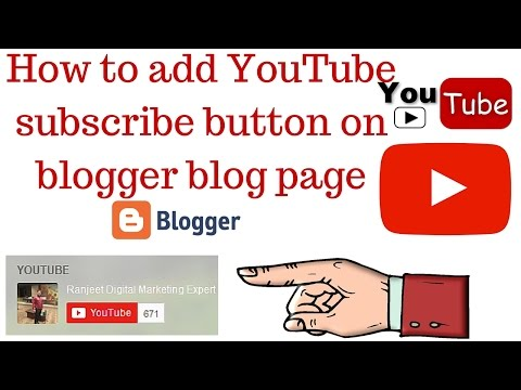 how to add youtube subscribe button on blogger blog page - Hindi