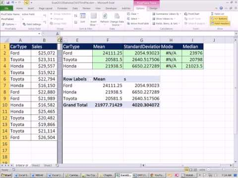 Excel 2010 Statistics #34.5: Z-Score IF, Standard Deviation IF, Mean IF, Mode IF, Median IF