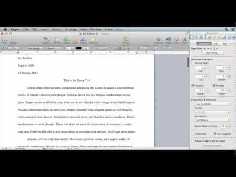 MLA formatting - Pages 09 (Mac OS X)