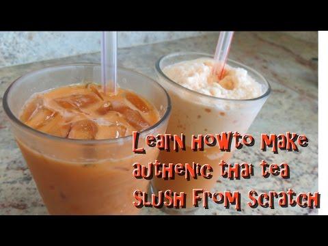 Thai tea slush smoothie with boba made right!