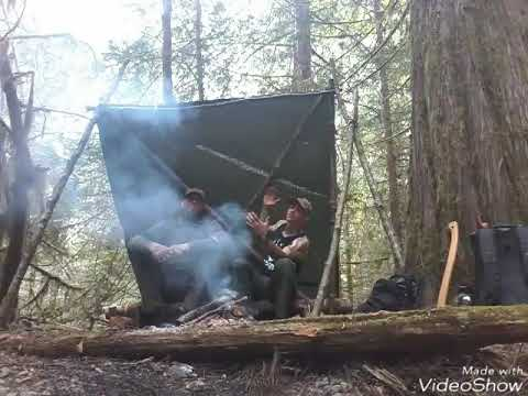Building a basic bug out shelter in a rainforest of B.C. Canada!