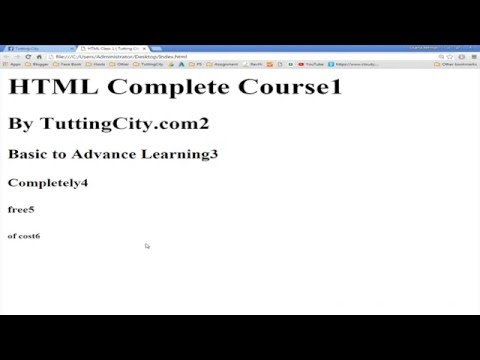 HTML5 Complete Course Class 1 By Tutting City