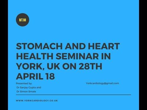 An announcement about a stomach-heart health seminar in York, UK