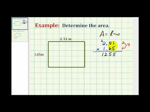 Example:  Determine the Area of a Rectangle Using Decimals