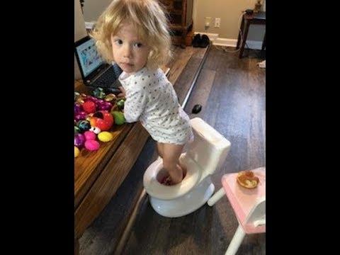 Cute baby Toddler upset refuses to change her diaper and slammed door. Change diaper baby girl