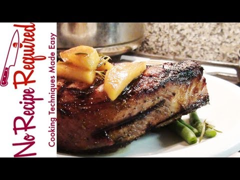 Grilled Pork Chops with Apples - NoRecipeRequired.com