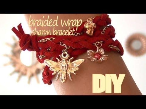 DIY Fashion ♥ Braided Wrap Charm Bracelet