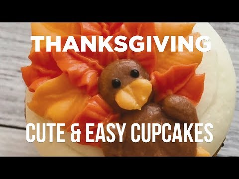 Cute & Simple Thanksgiving Cupcakes with Banana Bakery