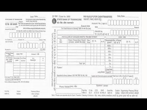 IN-How to fill SBT Bank deposit slip for cheque or cash deposit