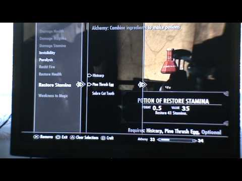 Skyrim how to make potion of restore health,staming,magicka and paralyzin poison