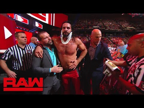 Seth Rollins is helped out the arena following Elias' attack: Raw, May 28, 2018
