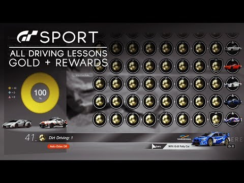 GT SPORT - All Driving School in GOLD + Car Rewards (How to Get 100% Campaign Completion)