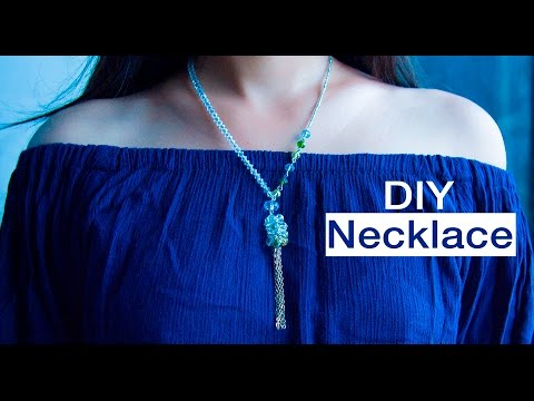 How to make easy crystal necklace | DIY | jewelry making | Beads art