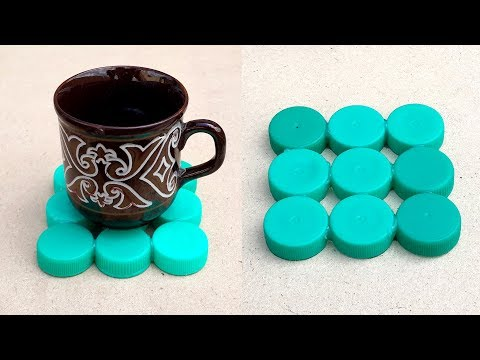 DIY Tea Coaster with Plastic Bottle Caps - Recycled Bottle Crafts